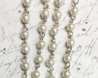 """1 Meter 39.5"""" Linked Beaded Chain off white  Pearl platinum silver Chain wire 6mm glass pearl beads Rosary style chain Beading Component"""