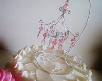 Shabby Chic White and Pink Chandelier Cake Topper MADE TO ORDER