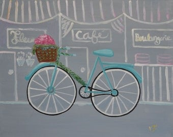 PARIS BIKE 16 x 20 acrylic on canvas