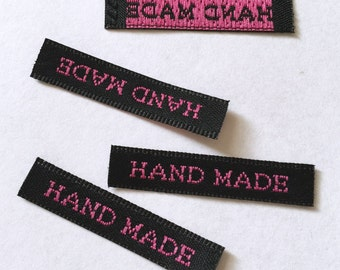 Set of 50 pcs of 30mm X 7mm Hand made Woven Label in Pink Type on Black Background for Accessories, Jewelry, Clothing