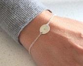 Silver Initial Disc bracelet - delicate personalised jewelry - customised bracelet
