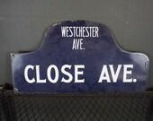 RESERVED Antique Bronx NYC Porcelain Humpback Sign
