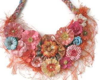 Coral Orange Floral Bib Statement Textile Necklace