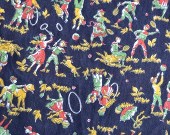 Vintage Fabric - Tole Folk Children and Dogs at Play on Black - By the Yard