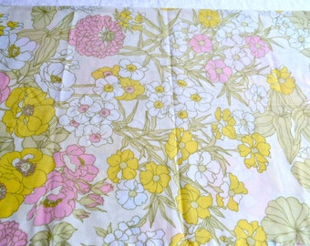 Vintage Pillowcase - Pink and Yellow Mum Floral - Standard Size