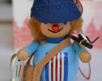 Vintage Christmas Ornament - Wooden Steinbach NOS - Fisherman
