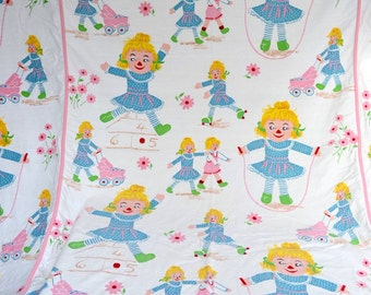 Vintage Bedspread - Childrens Novelty Doll Print  - Twin Size