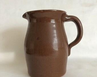 Vintage Brown Stoneware Pitcher