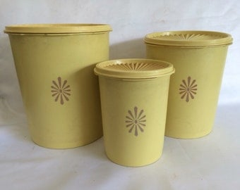 Tupperware Yellow Canisters