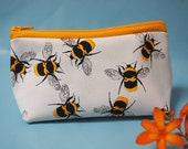 White leather Bees print make up bag (small)