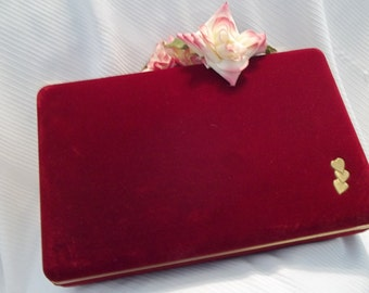MINT Stunning Vintage Red Velvet Mirror Jewelry Box / Case - Womens - Mad Men - Vanity
