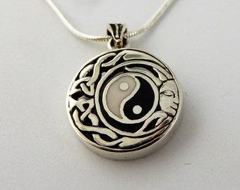 Sterling Silver Celtic Knot, Zen enamel Yin Yang with Sun face pendant