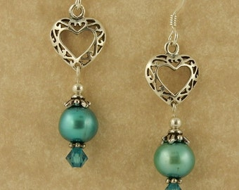 Sterling silver Celtic Heart filigree earrings w/ pearls & Swarovski crystals
