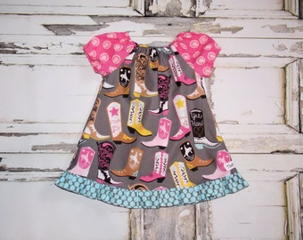 Lucky Cowgirl Boots Ruffled Peasant Dress 0 3 6 12 18 24M Custom Baby Shower Gift Birthday Party Rodeo Western Horse Fair