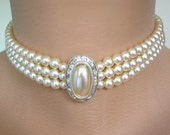 Pearl Choker, Cream Pearls, Great Gatsby, Pearl And Rhinestone, 3 Strand Pearls, Vintage Bridal, Bridal Choker, Gatsby Jewelry, Art Deco