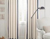 Pair, Solid color linen drapes, eggshell with black grosgrain trim, triple French pleats, pleated drapes,  other colors