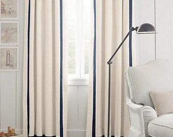 Lined linen drapes, French pleats, pleated, solid color linen, grosgrain trim, off white, white, other colors