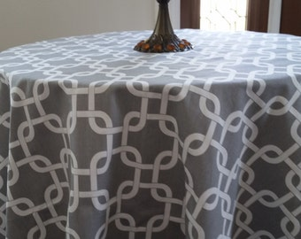 """RTS Round tablecloth 90"""" diameter, printed cotton fabric gotcha chain link, grey and white"""