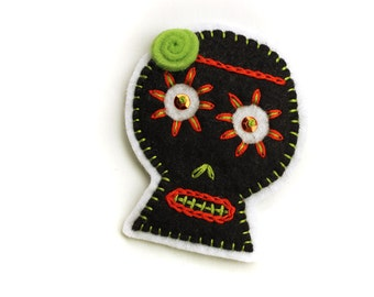 Black Sugar Skull Patch, hand embroidered on felt, orange and lime embroidery, wool felt sugar skull applique