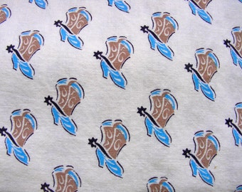 Vintage Novelty Feedsack Flour sack  Fabric: BLUE Cowboy Boots with Riding  Spurs * 35 x 44