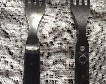 Pair of Antique Wood Handled Carbon Steel Forks