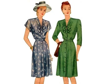 1940s Dress Pattern Tie Collar Front Button Day Dress V Neckline Short or Long Sleeves Vintage Simplicity 2167 Bust 36 Sewing Pattern