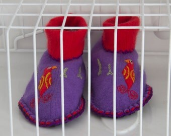 Bird slippers upcycled pure wool purple and red womens