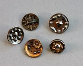 5 Victorian Cut Steel Buttons / Civil War Button Lot / Cut Steel Arrow Star Flowers