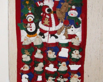 Beautiful wool Advent calendar with Santas