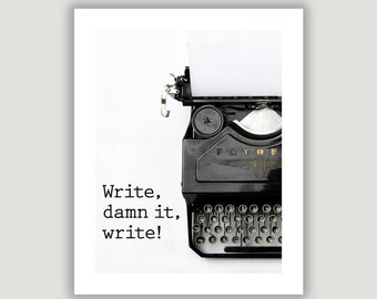 Writer Quote Print, gift for writer, writer inspiration, office art, library wall art, vintage typewriter print, graduation gift, typography