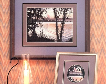 Sunset Still Lake Reflections Tree Silhouettes Red Orange Purple Mountain Backdrop Counted Cross Stitch Embroidery Craft Pattern Leaflet 9