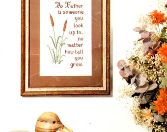 Father is Someone … Look Up To Poem Cat Tails Father's Day Gift Counted Cross Stitch Embroidery Craft Pattern Leaflet 39