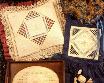 Hardanger Star Teach Yourself Needlework Pulled Thread White on White Embroidery Lace Learn Make Kloster Triangles Craft Pattern Leaflet 32