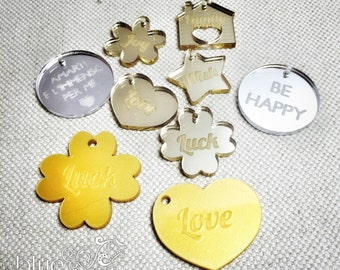 STOCK - 9 plexi charms, mixed colors and shapes