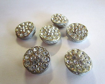 Vintage Pot Metal Rhinestone Buttons Set of Six Shank