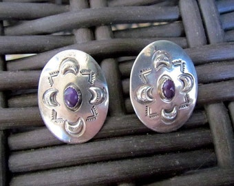 Vintage Native American Sterling Silver Stamped Concho Earrings Signed WS