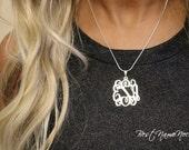 Monogram Necklace Classic, Sterling Silver Monogram Necklace, Custom Initials Monogram Necklace, Personalized Monogram