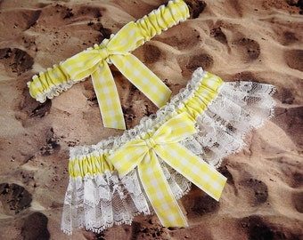 Yellow Barn Wedding Gingham Check LAST ONE White Lace Wedding Garter Bridal Toss Set