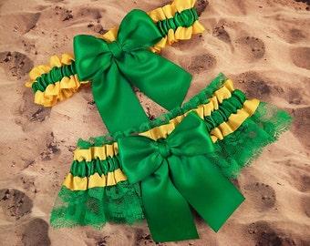 Yellow Satin Emerald Green Lace Wedding Bridal Garter Toss Set