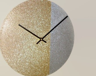 SILENT Gold Glitter Wall Clock 10 or 12 Inch Wall Clock, Silver and Gold Bling Wall Clock, Minimalist Wall Clock, Modern Wall Clock - 2140