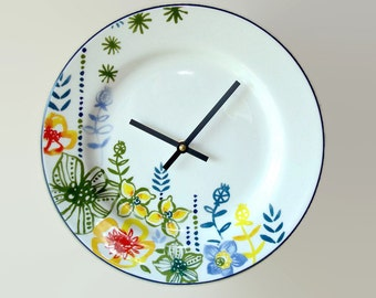 Floral Plate Wall Clock, Unique Floral Wall Clock, Whimsical Floral Wall Clock, Kitchen Clock, Goodwin Garden Plate Clock,  No. 2048
