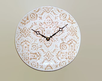 NEW! Doily Inspired Wall Clock, 9 Inches, Beige and Cream Lacy Wall Clock, Unique Wall Clock, Ceramic Plate Clock - 2081
