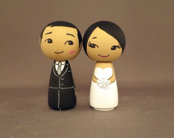 Kiss on Cheek Wedding Cake Toppers Finished