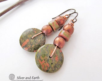 Unakite Earrings, Natural Stone Earrings, Unakite Jewelry, Beaded Dangle Earrings, Pink Green Earrings, Handmade Rustic Earthy Stone Jewelry