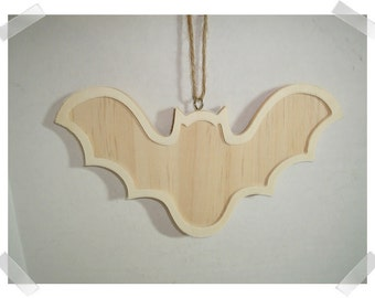 Wooden Bat Frame Ornament- Unfinished/ Holiday/ Craft Supplies*