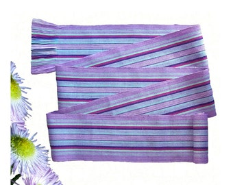Blue Lavender Sash SA72 - Purple Sash Belt - Boho Chic Fashion - Guatemalan Textiles - Reenactment Clothing - Woven Sash - Boho Accessories