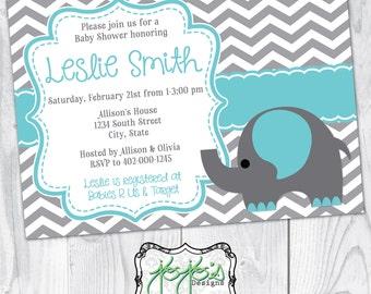 Elephant & Chevron Baby Shower Invitation, Gray White Turquoise Teal Blue, Cute Ornate Frame (Digital File)