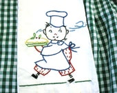 Vintage Chef Theme Embroidered Kitchen Towel Dish Cloth