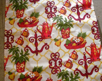 Vintage Red Yellow Green Kitchen Curtains 1 Valance 2 Panels
