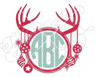Festive Deer Antlers Monogram SVG DXF digital download file Silhouette Cricut vector clipart graphics Vinyl Cutting Machine, Screen Printing
